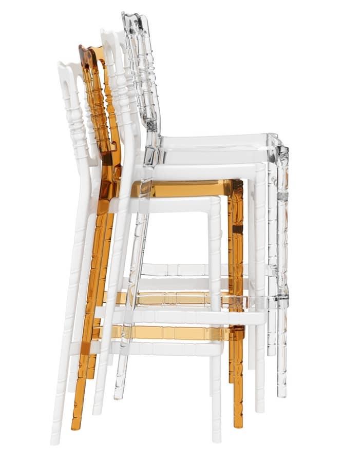 Napoleone 75, Transparent polycarbonate stool, for bars
