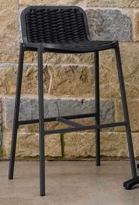 NIDA SG, Stool in aluminum, with rope weaves