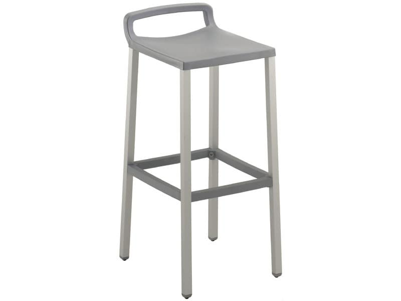 Ofer 75, High barstool in polypropylene and anodized aluminum