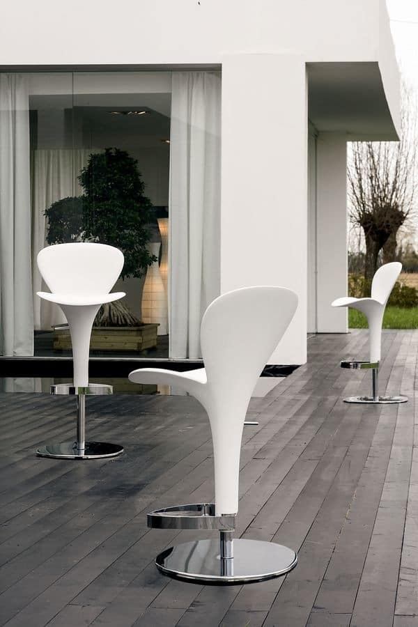 OSLO, Modern barstool for outdoor use, adjustable, for pubs