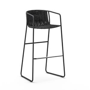 Randa ST, Barstool for the garden, in metal and woven fabric