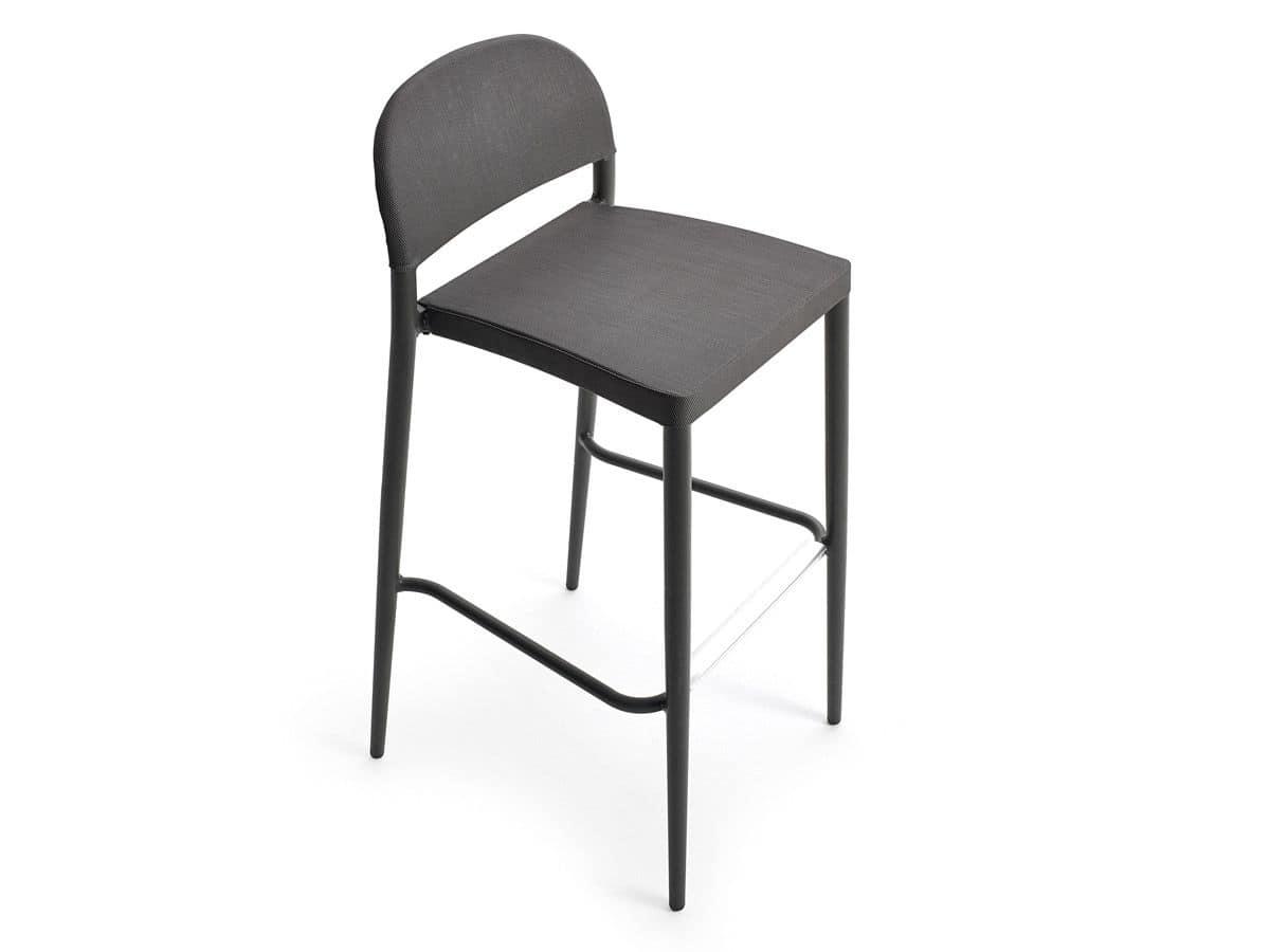 Saia stool, Aluminum and plastic stool, for bar and outdoors