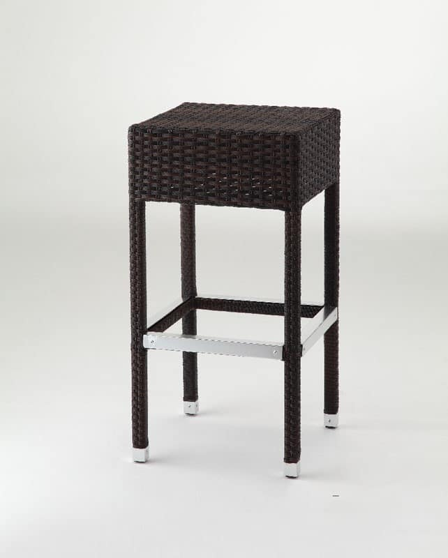 SG 710, Modern woven stool with footrest, for outdoors