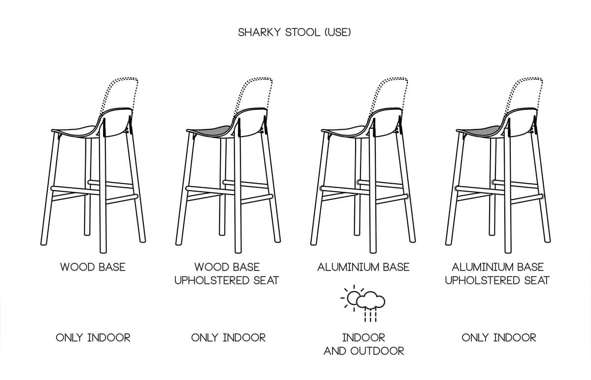 Sharky Stool Alu outdoor, Stool in aluminum and polypropylene, for external