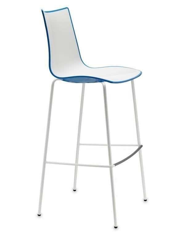 Zebra H Bicolor 2560-2, Metal and polymery stool, two-coloured, also for outdoor