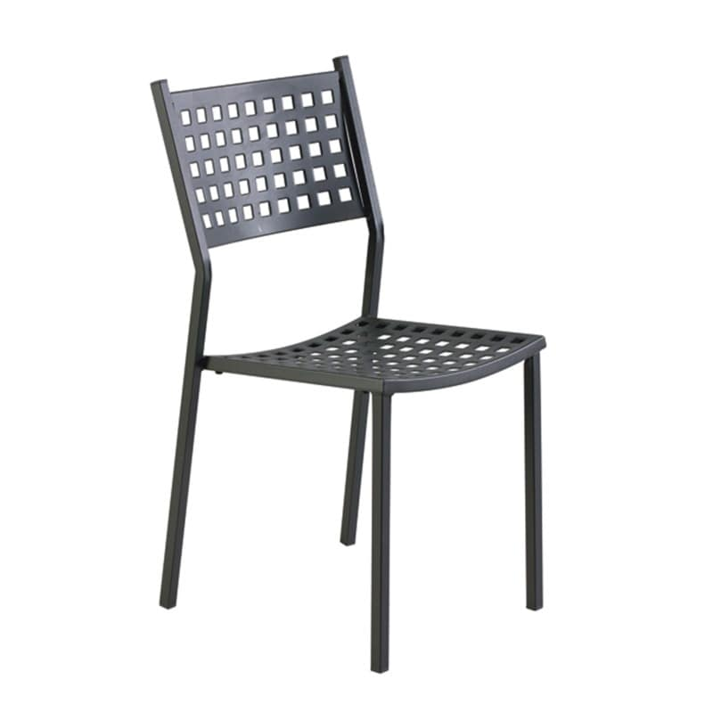 Superbe 2043, Outdoor Chair In Galvanized Iron, Perforated Seat And Back