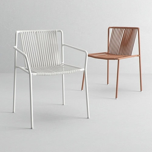 3660 Tribeca, Stackable chair in metal and pvc
