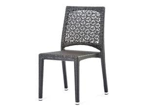 Altea chair, Chair with woven floral motif, for outdoors and bar