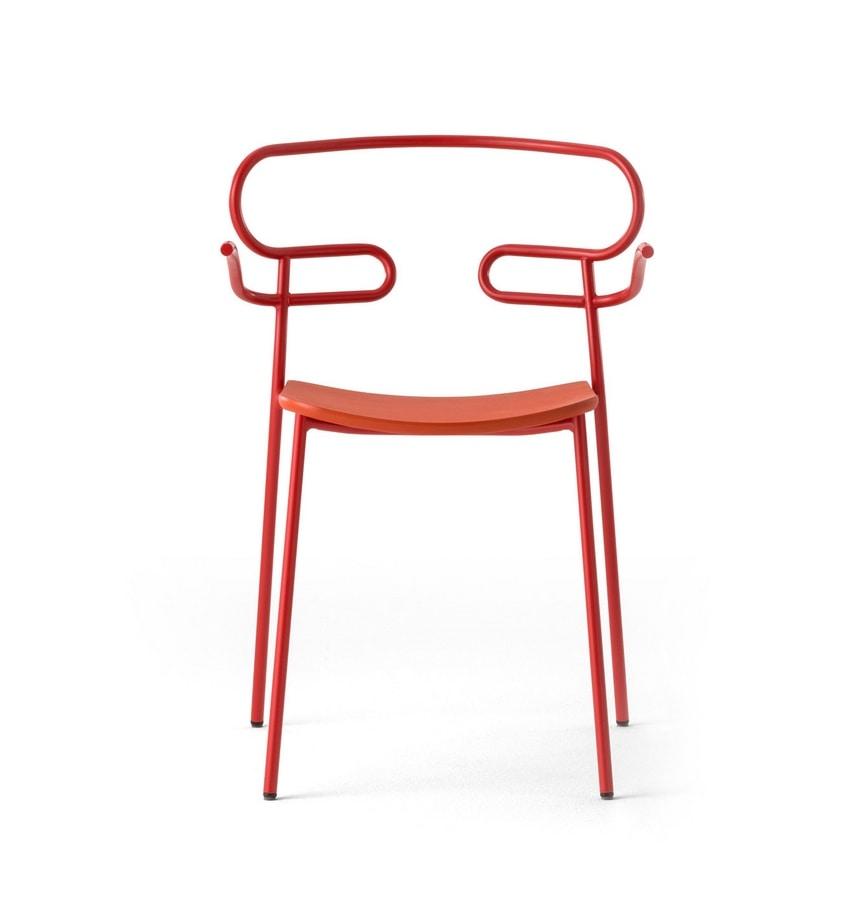 ART. 0048-MET-PU GENOA, Stackable outdoor chair