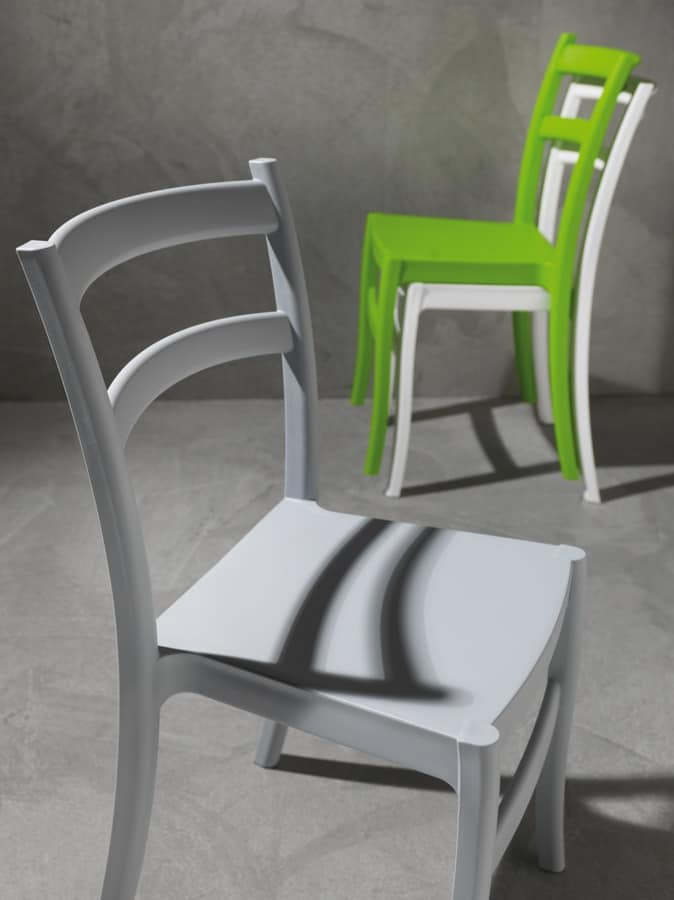 Art. 053 Venezia, Colored polypropylene chair, for indoor and outdoor