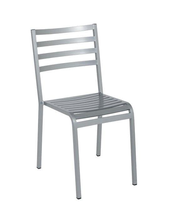 Art.Macrì Outdoor chair, Metal chair for outdoor furnishing, horizontal slats