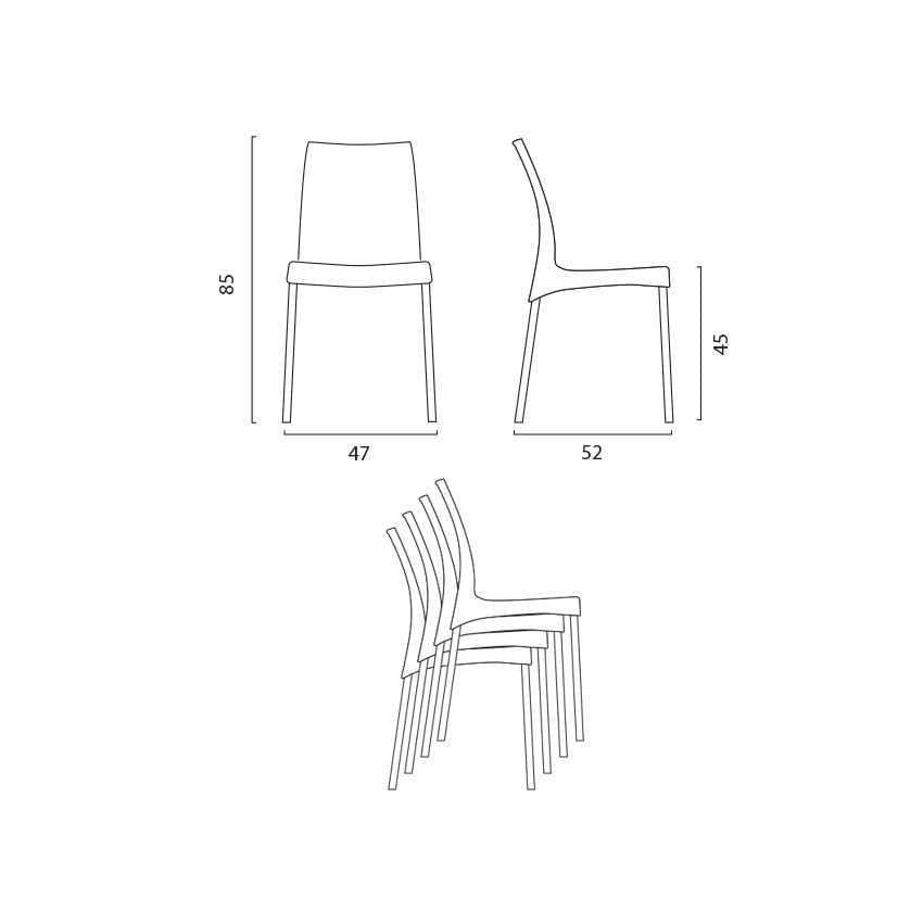 Bar stackable outdoor indoor chair Boulevard – S3340, Plastic chair, with aluminum legs