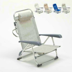 Beach chair with small footrest sea aluminum foldable spiaggina GARGANO - GA800CSC, Folding beach chair with armrests
