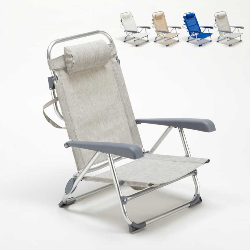 Beach Chair With Small Footrest Sea Aluminum Foldable Spiaggina Gargano Ga800csc Folding