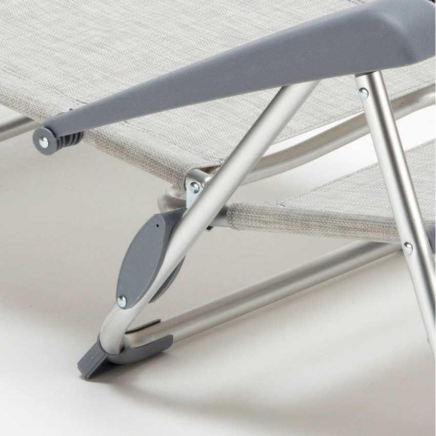 Beach chair with small footrest sea aluminum foldable spiaggina GARGANO - GA800CSC, Folding beach chair with armrests