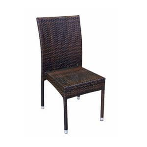 Belinda, Woven chair for outdoor use, stackable, aluminum frame