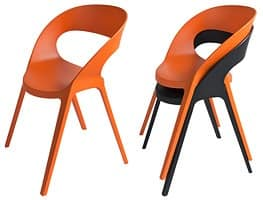 Camilla, Modern Chair, in plastic reinforced, for courtyard and bar