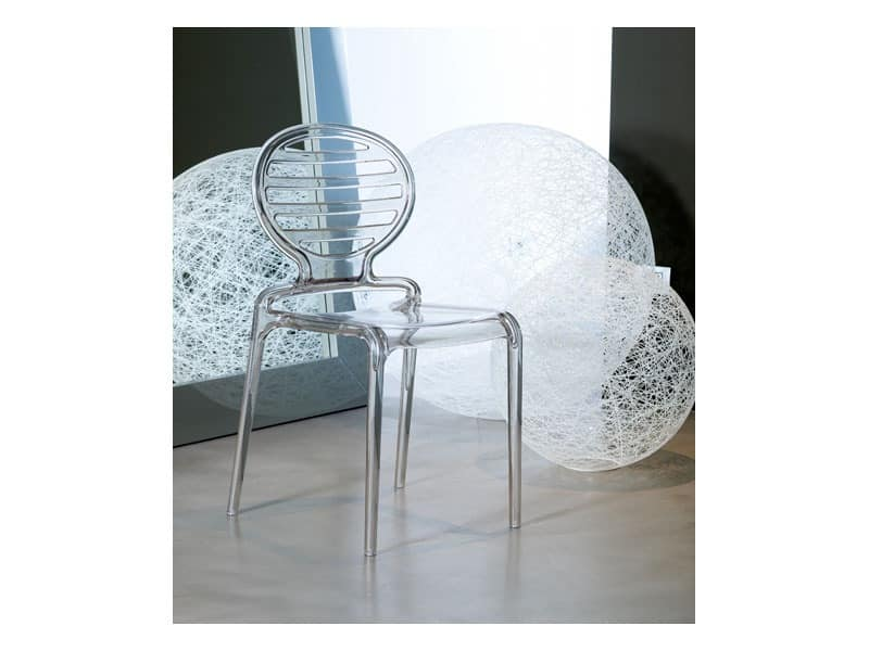 Cokka chair, Modern chair in polycarbonate, stackable, also for outdoor