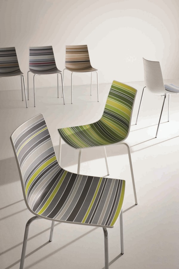 Colorfive NA, Chair with plastic shell with fancy stripes