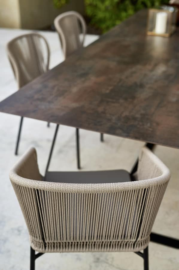 Cricket chair with arms, Chair in metal and rope, for outdoor bar