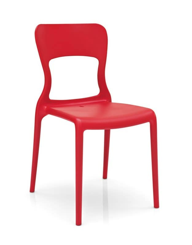 Diva, Stackable chair in polypropylene, in various colors