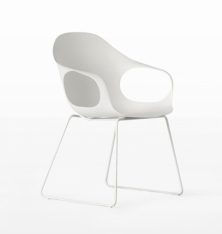 Miraculous Polyurethane Chair With Slide Structure In Painted Steel Bralicious Painted Fabric Chair Ideas Braliciousco