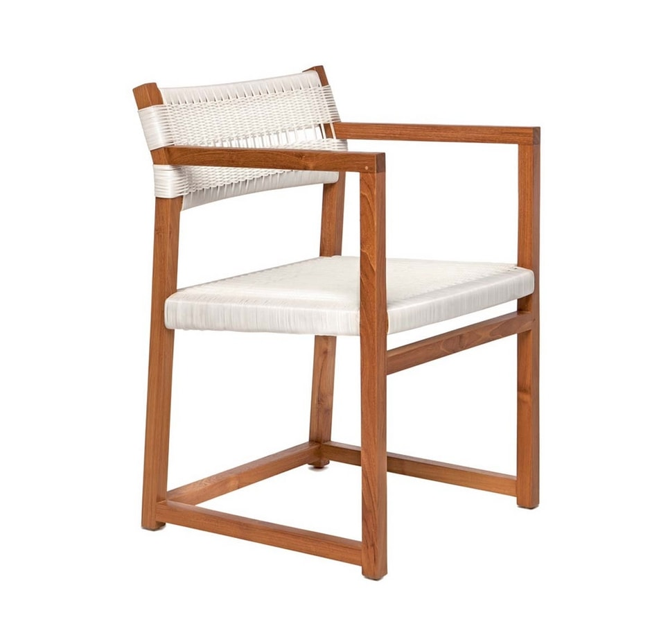 Emily 4322, Chair in teak wood suitable for both outdoor and indoor use