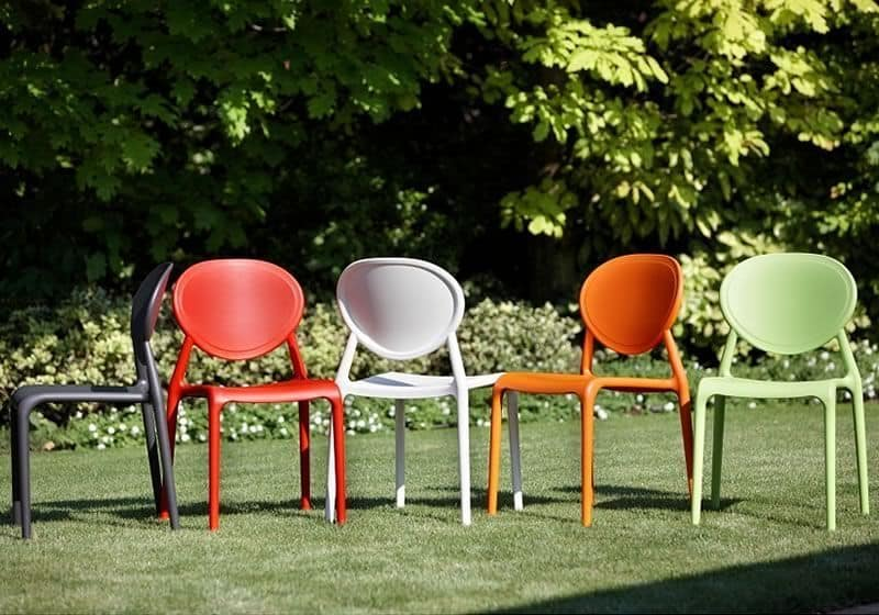 Gio, Stackable chair without armrests, different colors, for outdoor