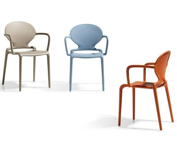 Gio B, Modern armchair in technopolymer, stackable