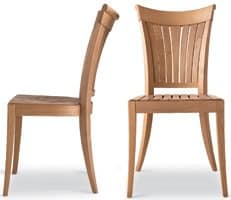 Harmony side chair, Chair with backrest with vertical slats, for Outdoor side