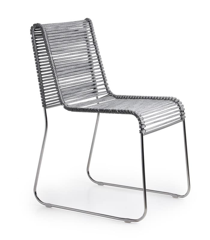 In/Out, Metal chair, seat in woven rope, for indoor and outdoor