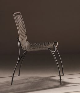 In&Out, Chair with seat and back in cotton rope traited for outdoor