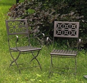 Isotta/P, Folding steel chair, for garden
