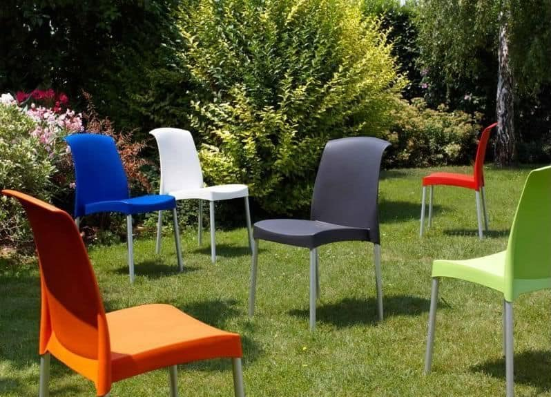 Jenny, Stackable chair without armrests for outdoor furniture