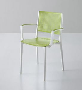 Kalipa B, Stackable chair with armrests, for gardens