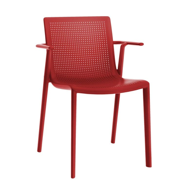Kirama - P, Chair with armrests, stackable, in polypropylene, for bars