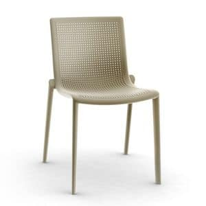 Kirama - S, Modern chair, stackable, resistant, outdoor, in plastic