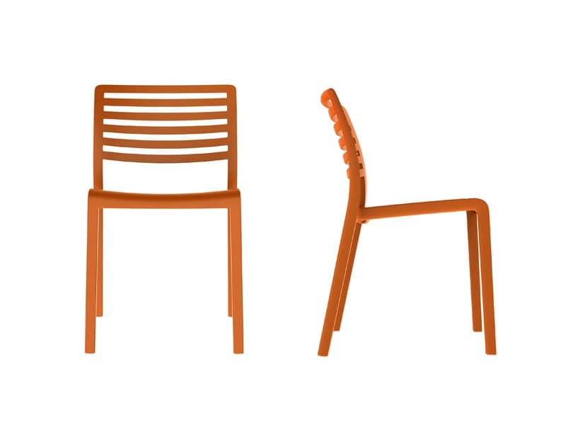 Lama - S, Plastic chair with backrest with horizontal slats