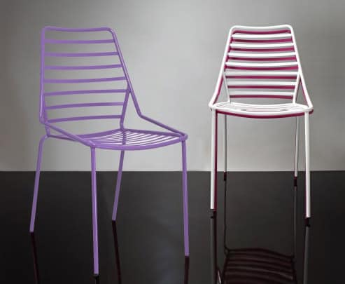 Link, Stackable metal chair with horizontal lines motif