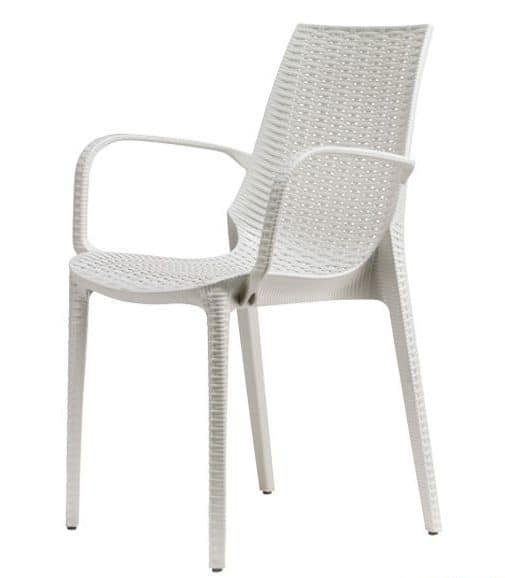 Lucrezia P, Modern armchair entirely made in woven patterned technopolymer