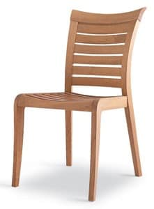 Mirage side chair, Wooden chair with Horizontal slats, for outdoors