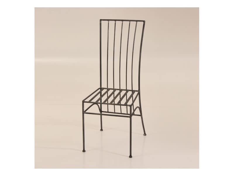 Modern, Wrought iron chair with rectangular backrest, outdoor use