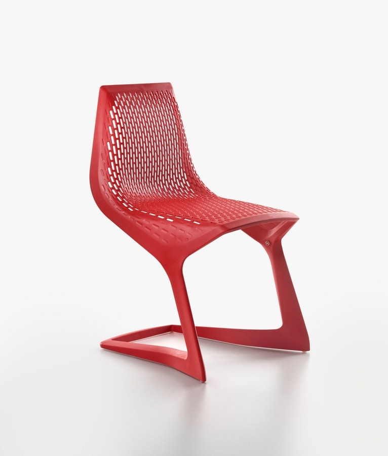 Myto mod. 1207-20, Sled chair of high design, stackable, recyclable
