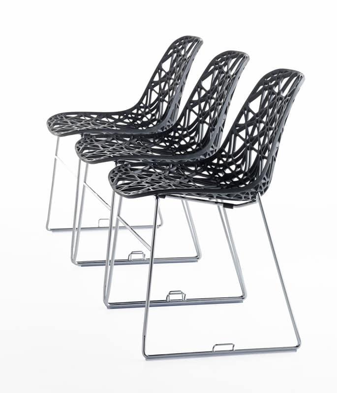 Nett R SB, Design Outdoor chair in metal, plastic mesh shell