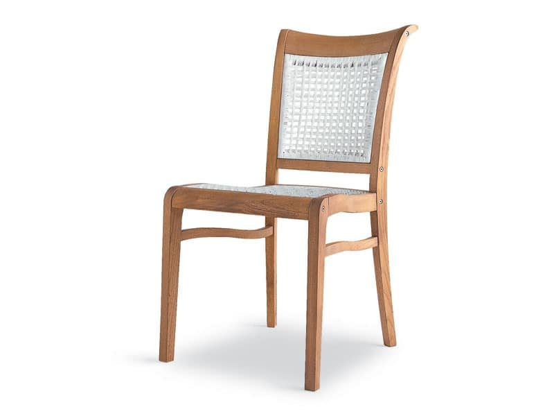 Newport side chair - polypropylene, Ergonomic chair in wood and polypropylene, for external use