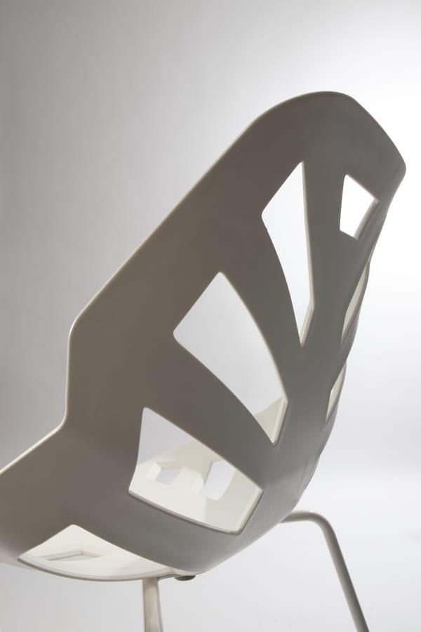 Ninja NA, Polymer chair, painted metal base, for outdoors