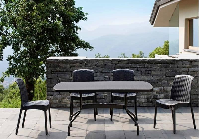 Olimpia Chair Trend, Technopolymer and aluminium chair, stackable and for garden