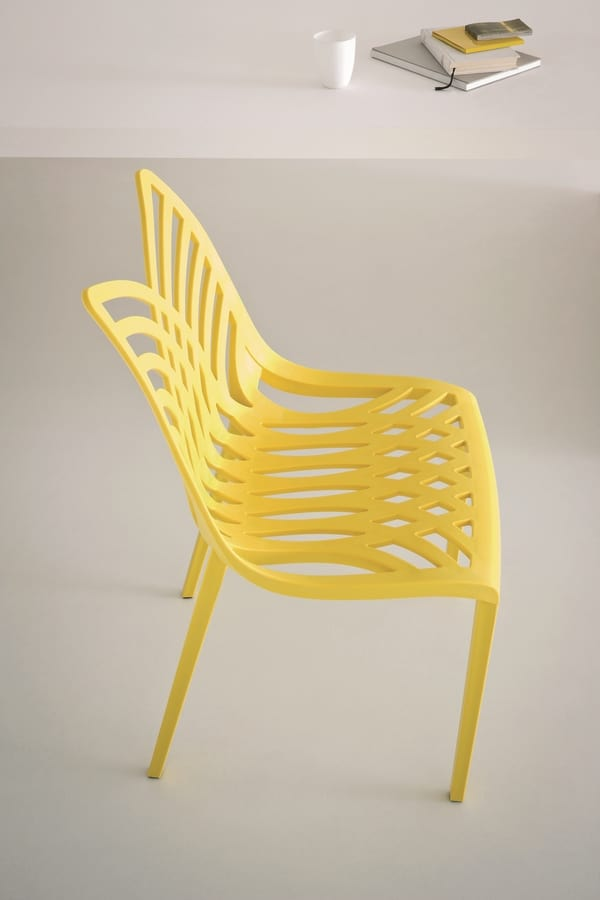 Opera, Colored chair in polymer, for indoor and outdoor use