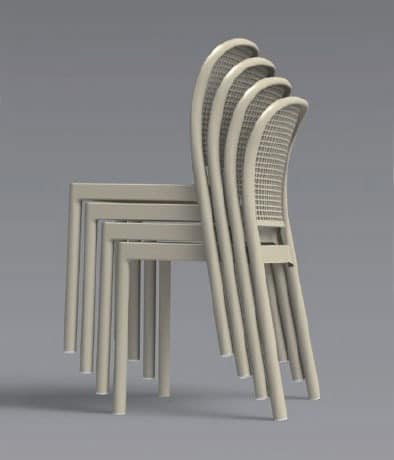 Panama, Stackable chair with metal body in molded plastic