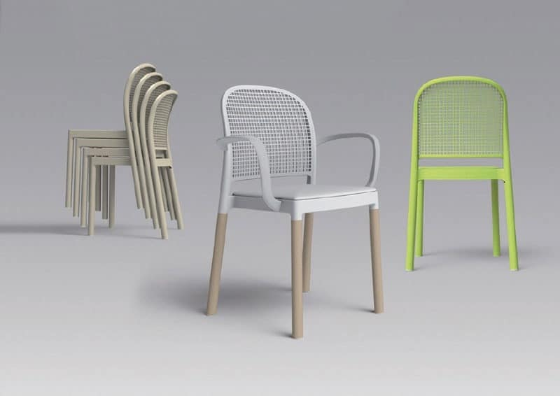 Merveilleux Panama, Stackable Chair With Metal Body In Molded Plastic